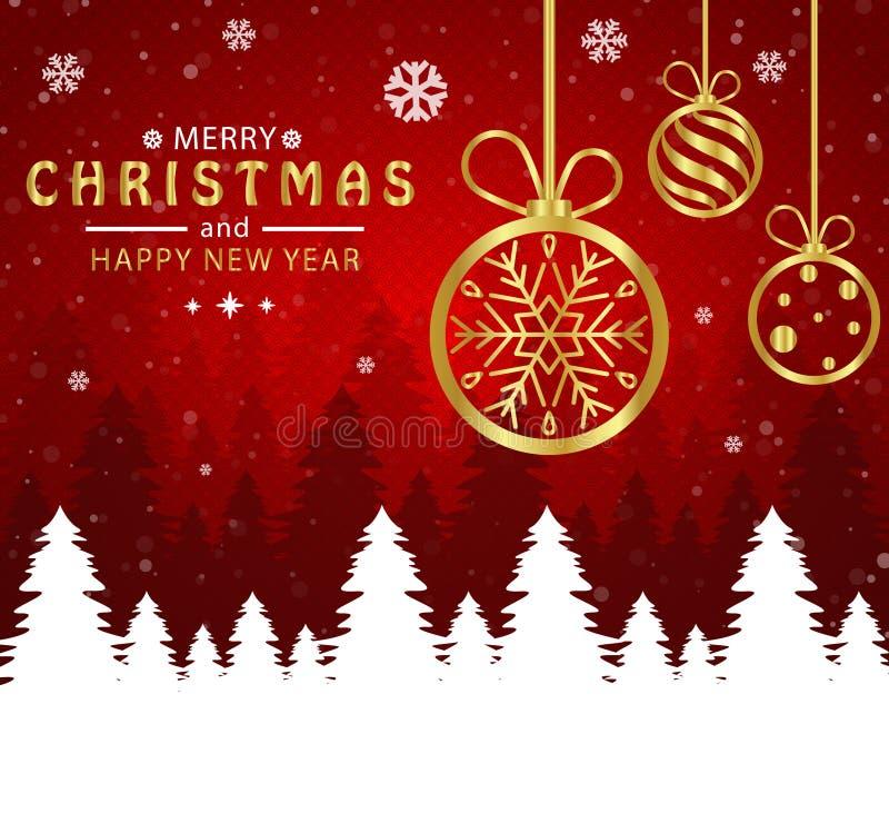 E 圣诞节球金黄在红色背景中 库存例证