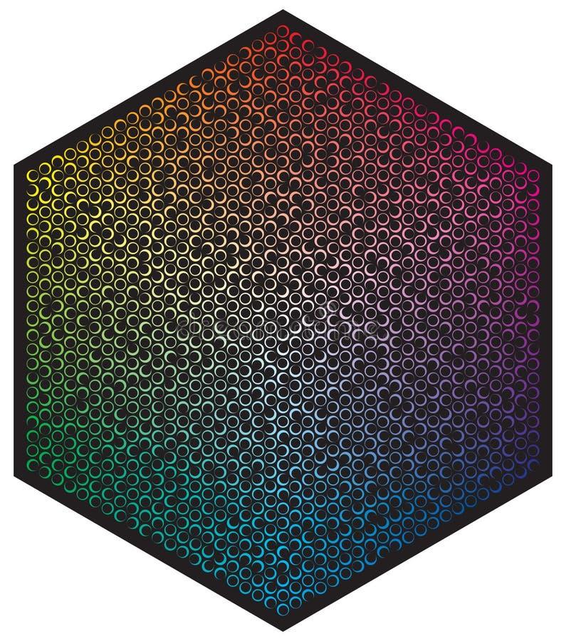 E 在六角形样式形状的许多不同颜色月亮  向量例证