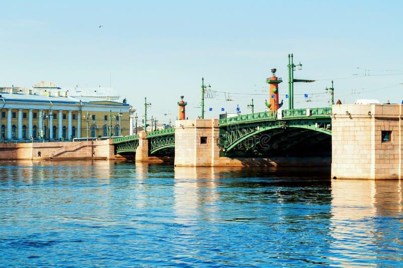 E 在内娃河的宫殿桥梁在圣彼德堡俄罗斯和动物学博物馆 库存照片