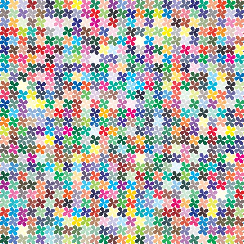 E 在四叶三叶草形状混乱驱散的484不同颜色  向量例证