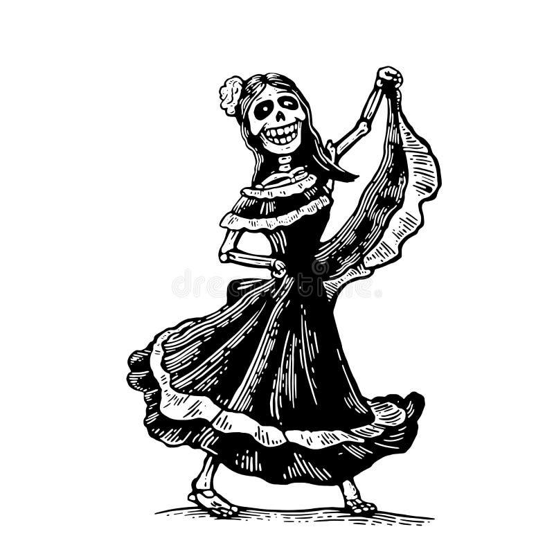 E 在墨西哥全国服装的骨骼跳舞,唱并且弹吉他 向量例证