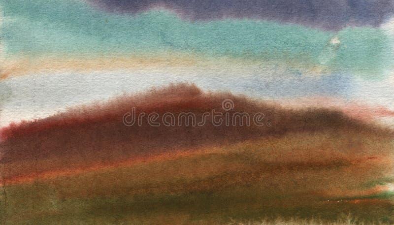 E 在山的雨 从自然的水彩研究 库存图片