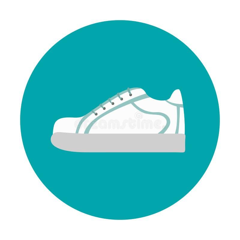 E 在平的样式的白色青年运动鞋 向量例证