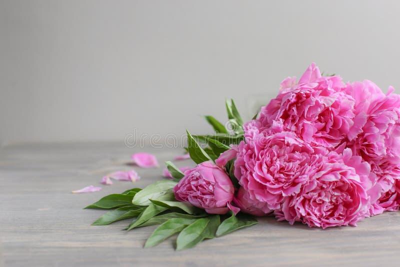 E 在木背景的桃红色牡丹花 r 图库摄影