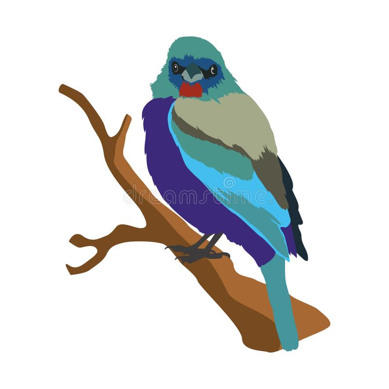 E 在树枝栖息的鸟的传染媒介例证 向量例证
