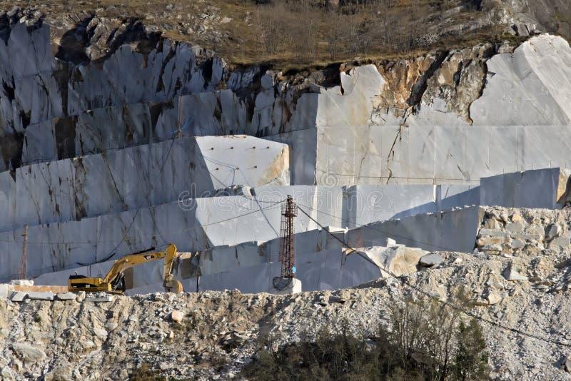E 2019?3?28? 在白色卡拉拉大理石猎物的一种挖掘机  库存照片