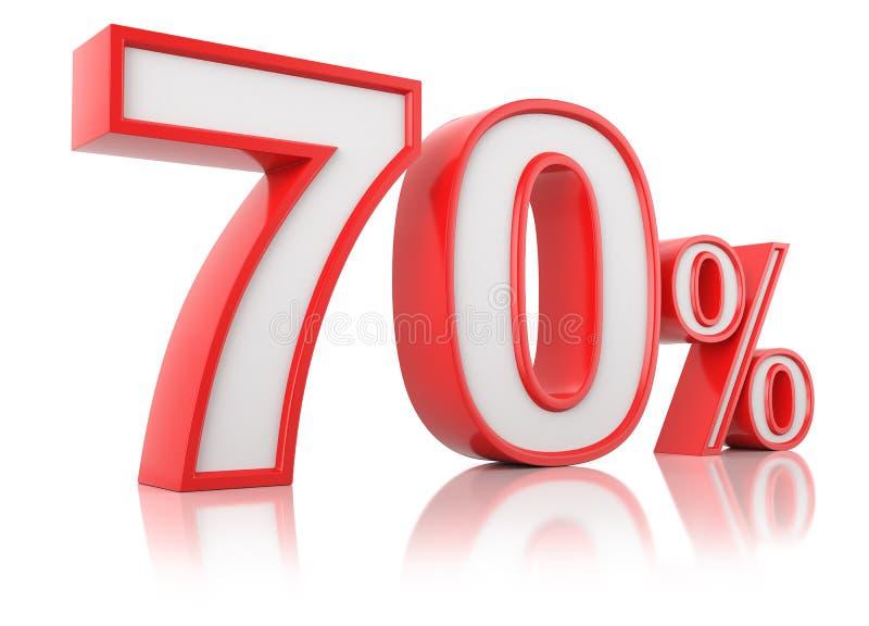 E 在白色背景的红色百分之七十 库存例证