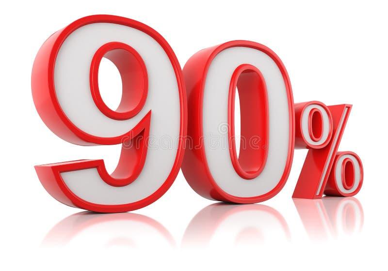 E 在白色背景的红色百分之九十 皇族释放例证