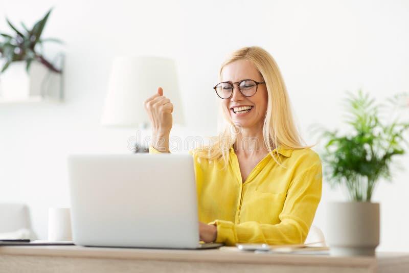 E 在膝上型计算机的成熟妇女读书喜讯 库存图片