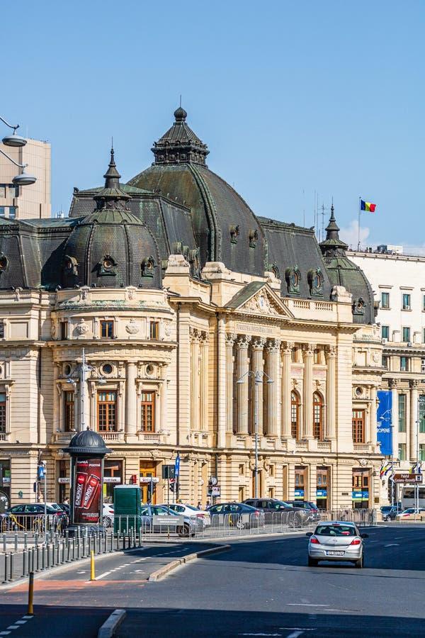 E 在街市布加勒斯特老大厦、旅馆和地方酒吧的Victoriei方式 免版税库存图片