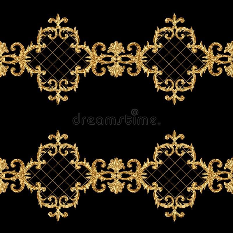 E 在黑背景的水彩手拉的金元素纹理 向量例证