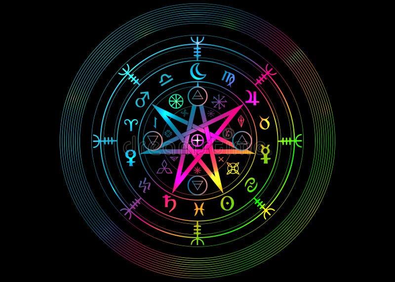 E 坛场巫婆诗歌,神秘的威卡教占卜 Boho样式五颜六色的古老隐密标志,被隔绝 皇族释放例证