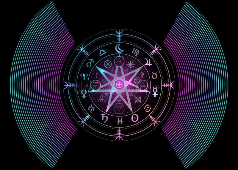 E 坛场巫婆诗歌,神秘的威卡教占卜 Boho样式五颜六色的古老隐密标志,被隔绝 库存例证