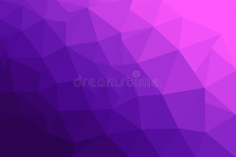 E 多色低多梯度背景 水晶多角形背景 紫色和紫罗兰 库存例证