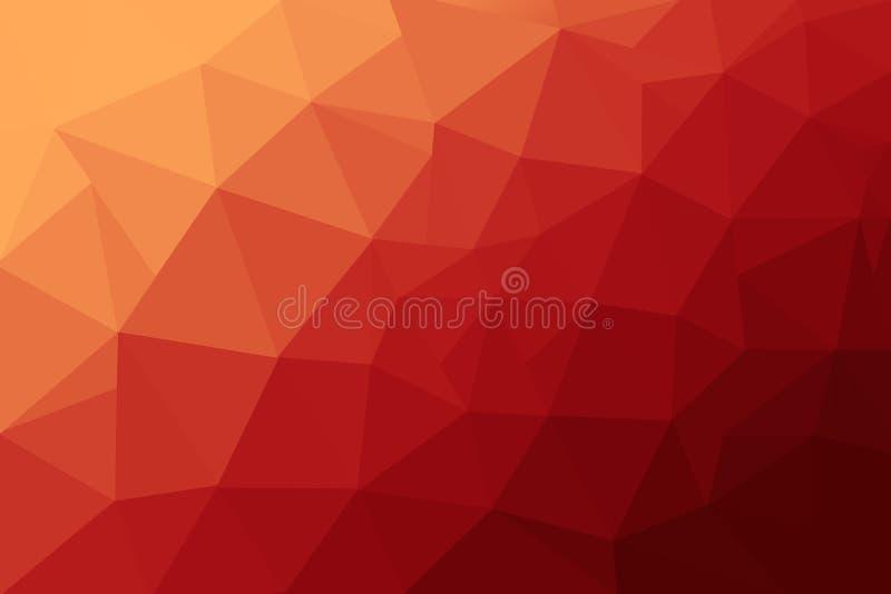 E 多色低多梯度背景 水晶多角形背景 红色和橙色多角形 库存例证