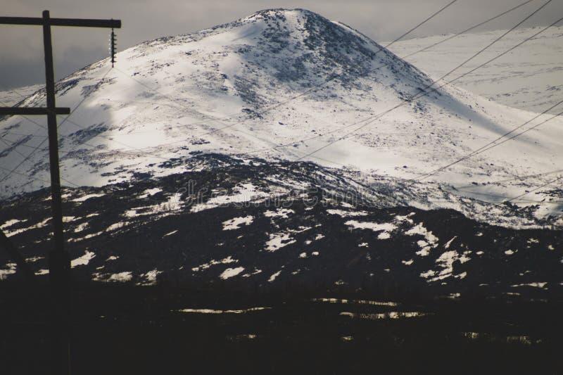 E 多雪的小山和森林输电线在山 免版税库存照片