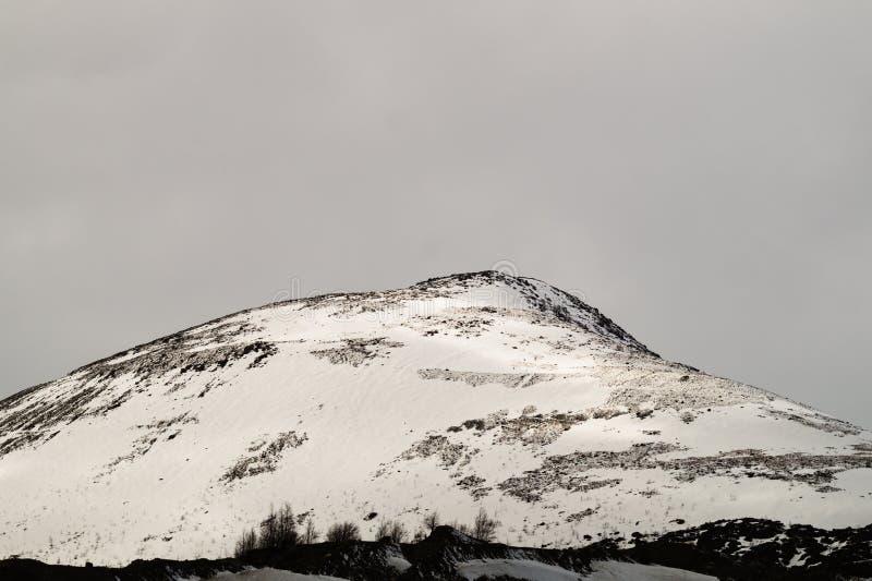 E 多雪的小山 免版税图库摄影