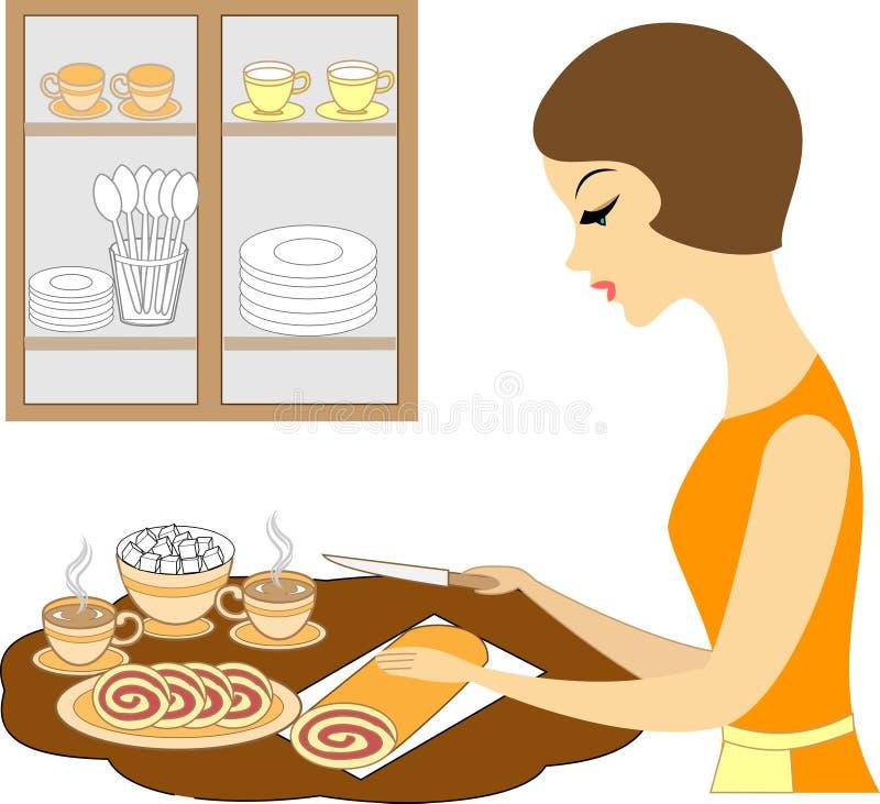 E 女孩准备咖啡或茶盖桌 女主人切一个甜可口饼 皇族释放例证