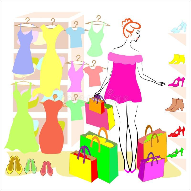 E 女孩参与购物 在商店他买衣裳和鞋子,礼服,T恤杉,鞋子起动 皇族释放例证