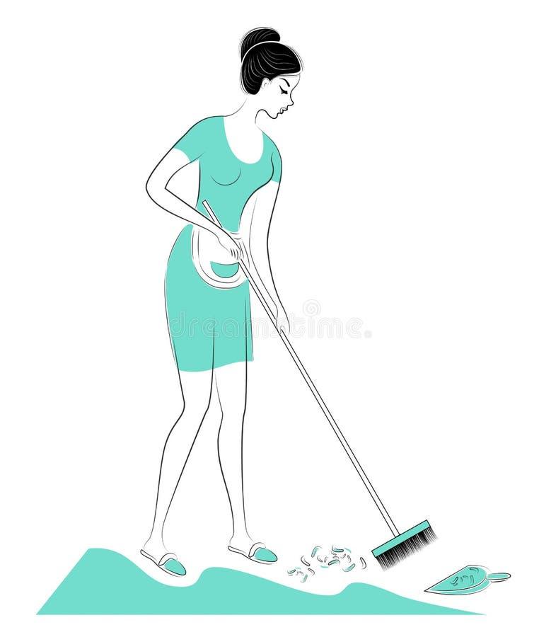 E 女孩在屋子,笤帚里清扫地板 : ?? 向量例证