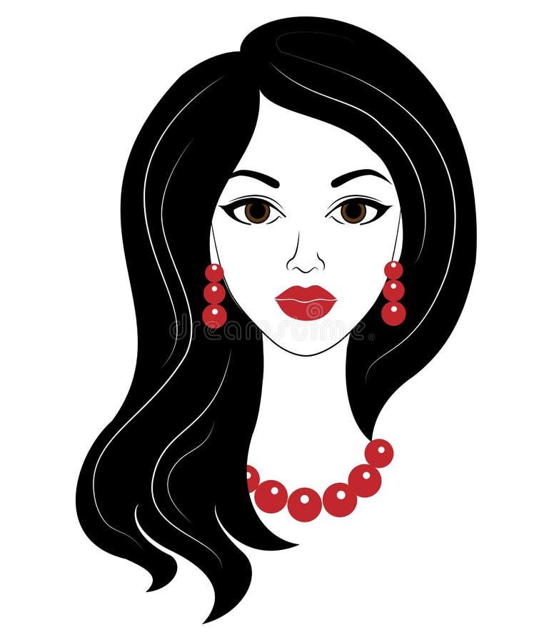 E 女孩有与美丽的长发、红色小珠和耳环的一种发型 r 向量例证