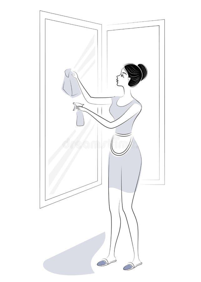 E 女孩洗涤窗口 : r 库存例证