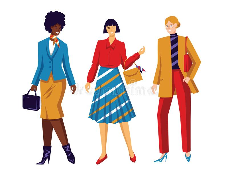 E 女队 关于女性力量和平等权利的概念性海报 diffe的工作女子 向量例证