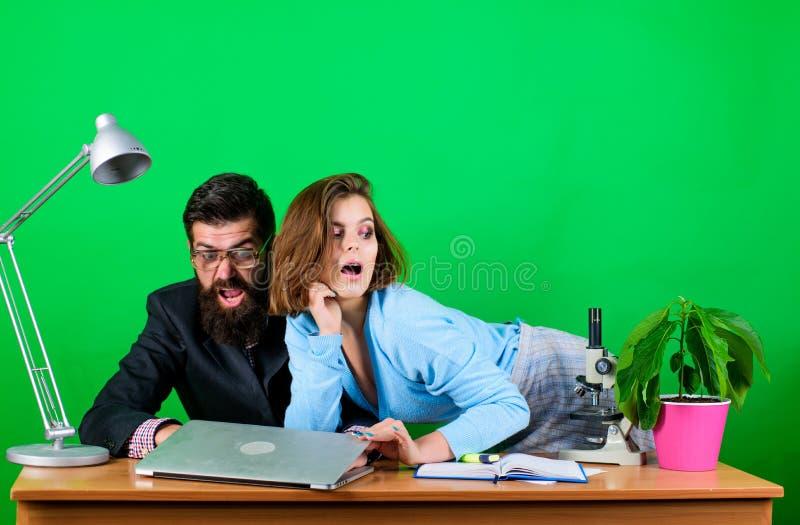 E ( 妇女和人工作在膝上型计算机的办公室 商人和 免版税库存照片
