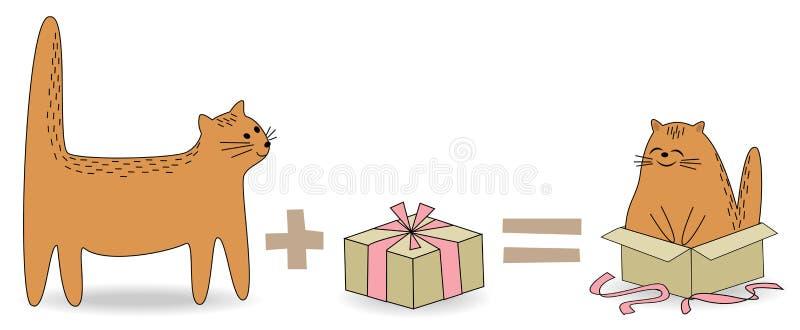 E 宠物看见了礼物 动物去到箱子并且是愉快和微笑 o r 库存例证
