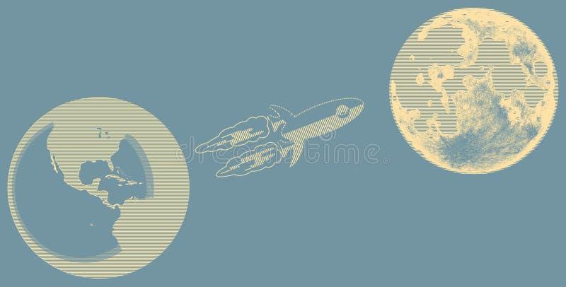 E 对月亮的火箭队 地球和月亮在空间 皇族释放例证