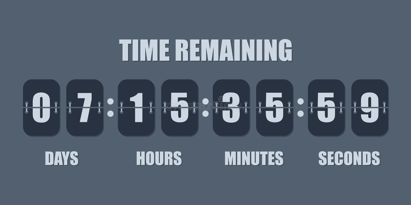 E 导航在轻碰委员会下的时间依然是的计数有天、小时、分钟和秒钟记分牌的  库存例证