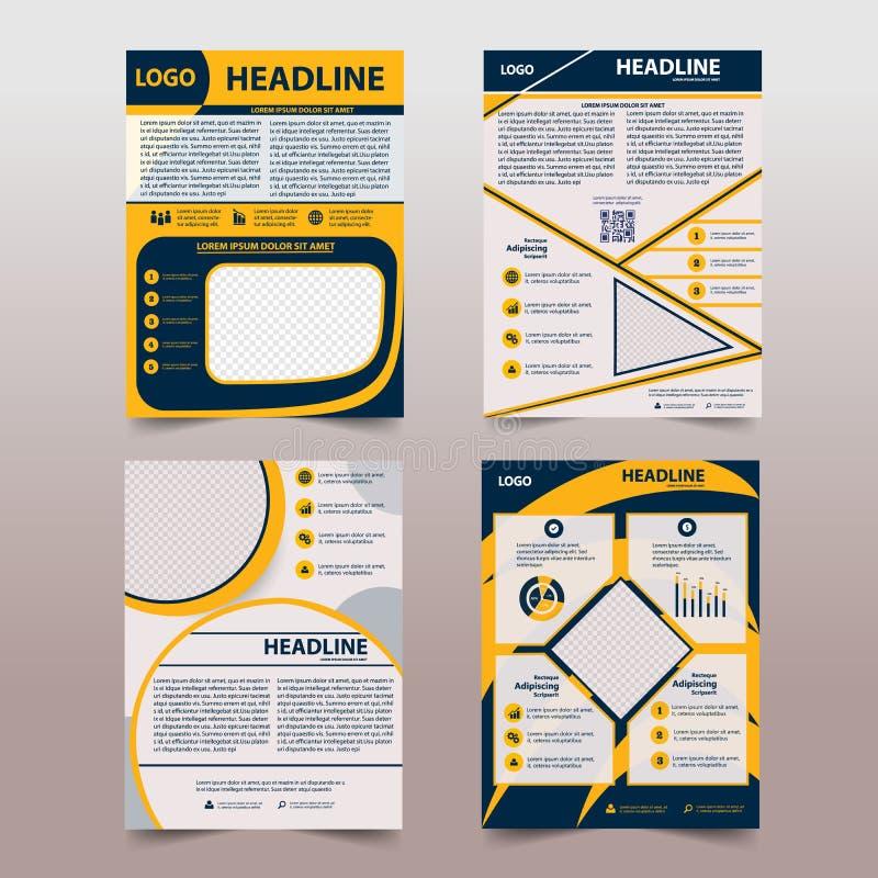 E 小册子设计,年终报告,海报,在A4的飞行物与技术的几何形状 库存例证