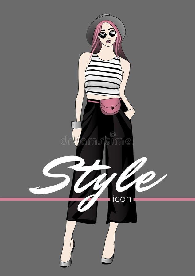 E 巴拿马草帽、太阳镜、白色上面与黑条纹,二赖子袋子,宽腿黑色裤子和高跟的女孩 向量例证