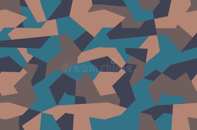 E 布朗沙子和蓝色无缝的纹理,传染媒介例证 几何Ñ  amo印刷品背景 皇族释放例证