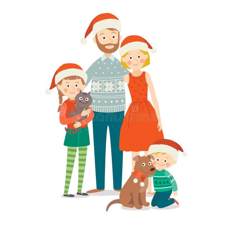 E 愉快圣诞节的系列 动画片传染媒介手拉的eps 10例证在白色隔绝了 向量例证