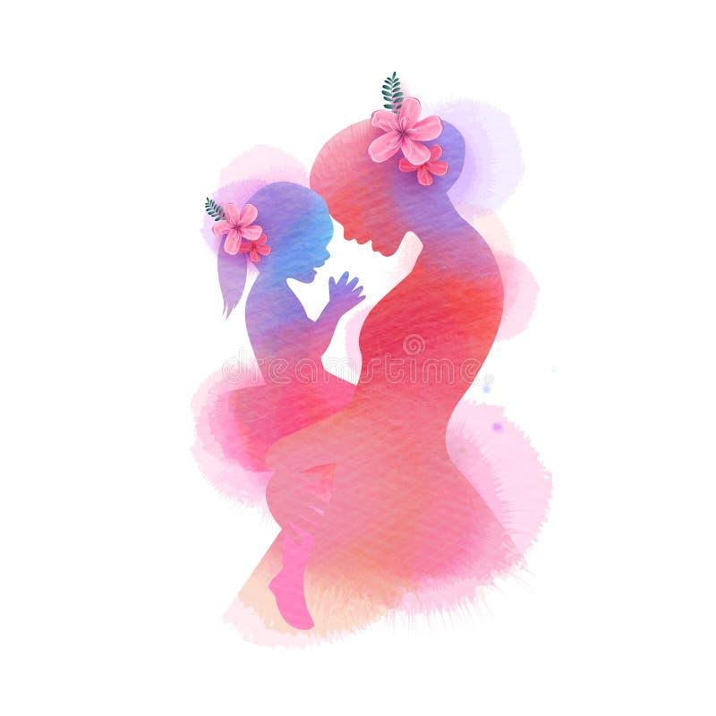 E 愉快的妈妈侧视图有女儿剪影的加上抽象水彩绘了 E Doubl 向量例证