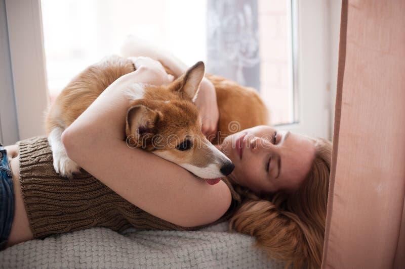 E 愉快的逗人喜爱的狗 免版税库存照片