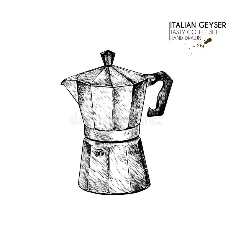 E 手拉的咖啡喷泉,意大利上等咖啡,浓咖啡的anchient设备 r ?? 向量例证