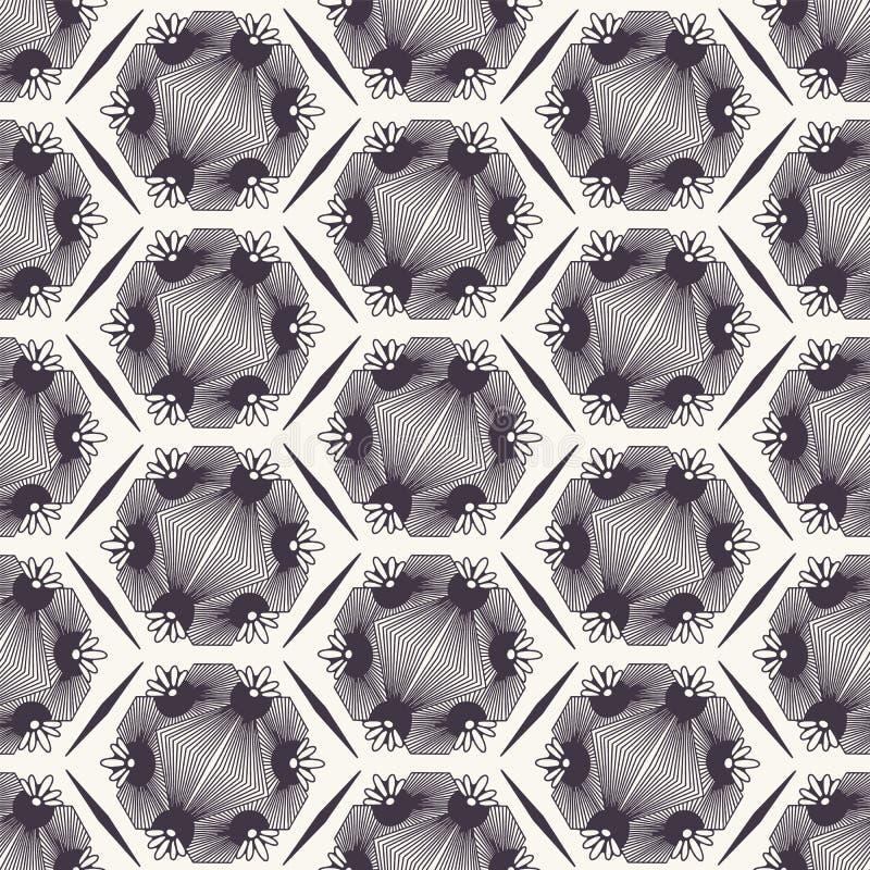 E 手拉的锦砖形状 重复geo花卉背景 单色表面设计纺织品样片 库存例证