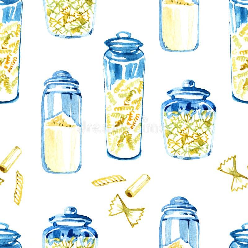 ?? E 手拉的食物 真正的水彩图画 绘的例证 库存例证