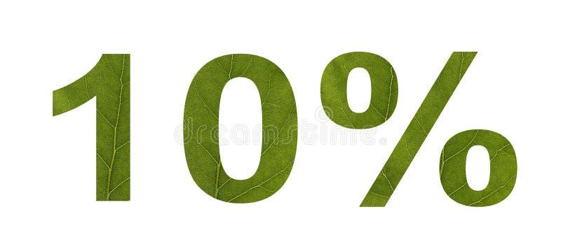E 折扣10%,白色被隔绝的背景 树的叶子的纹理 横幅,飞行物,邀请, 库存例证