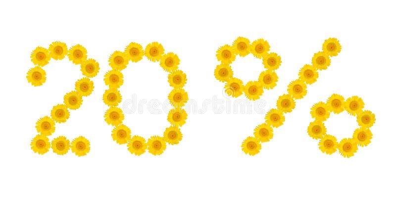 E 折扣20%,白色被隔绝的背景 hrezentemy黄色的花的标志 横幅,飞行物,邀请, 免版税库存图片