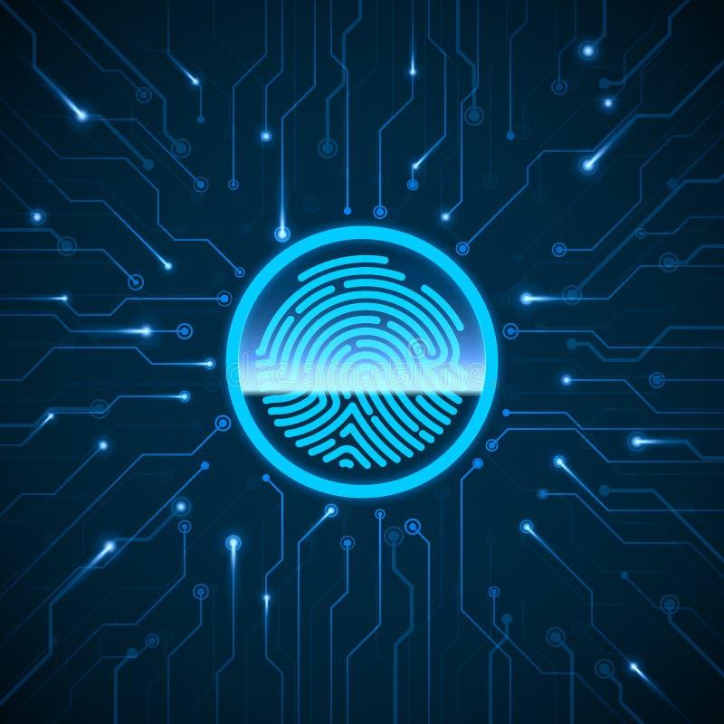 E 指纹扫描的鉴定系统 在电路扫描的指纹 生物统计的授权 库存例证