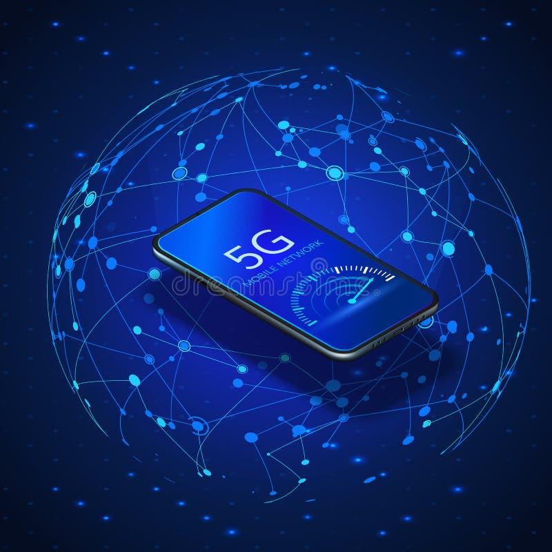 E 无线系统和互联网 有网速示速器的手机 皇族释放例证
