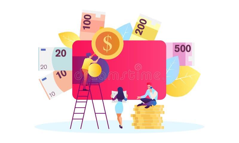 E 时间是金钱 事务和管理,时间是金钱 库存例证