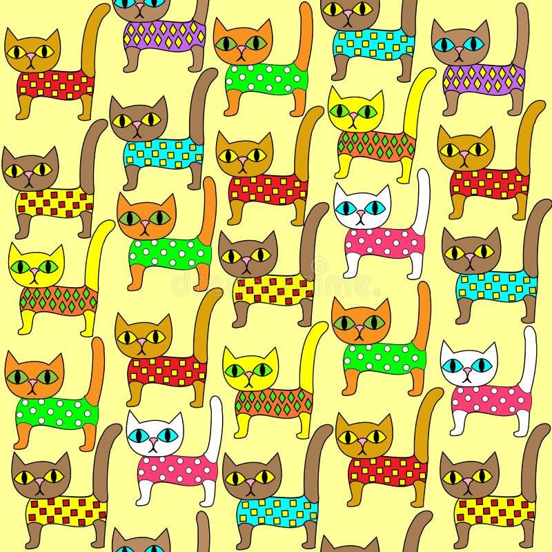 E 明亮的逗人喜爱的小猫 适当作为墙纸在儿童房间,作为礼品包装材料孩子和成人的 向量例证