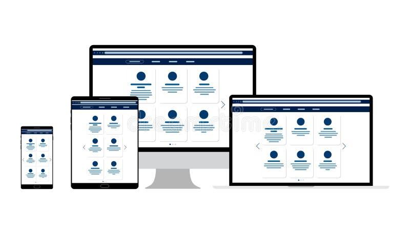 E 显示器的,膝上型计算机,片剂,电话网站模板 机动性和Web应用程序的元素 用户界面UI和 皇族释放例证