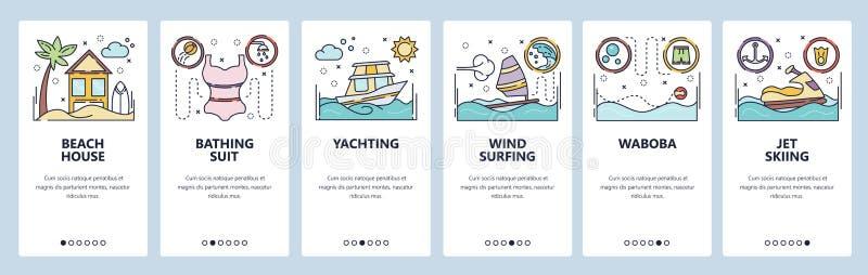 E 暑假活动,乘快艇,冲浪的风,waboba,喷气机滑雪,海滩假日 皇族释放例证
