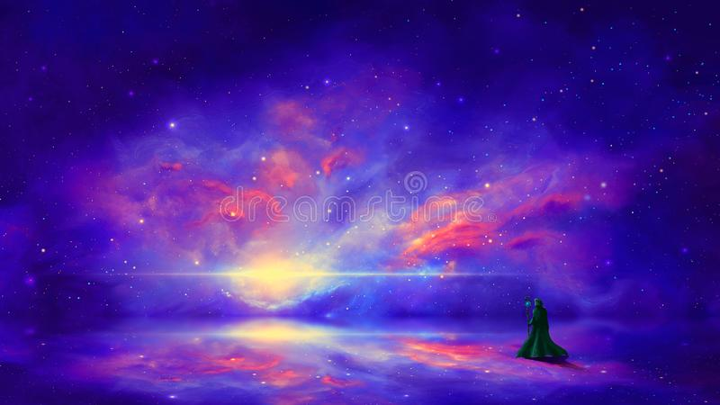 E 有五颜六色的星云的魔术师反射表面上 r 3d?? 图库摄影