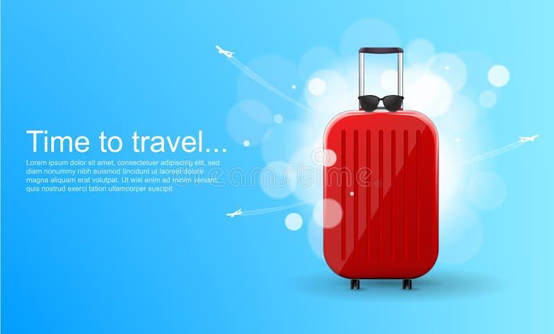 E 有轮子的红色光滑的手提箱 旅行横幅概念 皇族释放例证